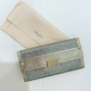 JIMMY CHOO Gold Silver Glitter Wallet Clutch
